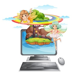 Computer screen with fairies on island vector image