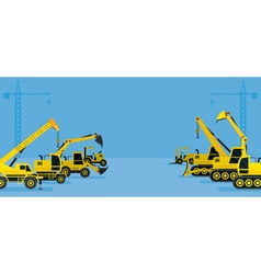 Construction Vehicles Display Background vector image