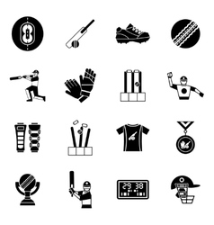 Cricket Black Icon Set vector image