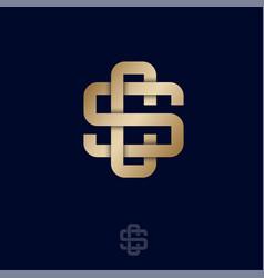 cs monogram luxury logo intertwined gold lines vector image
