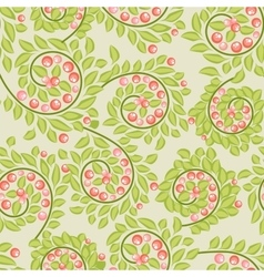 Cute seamless pattern with berries and leaves vector image