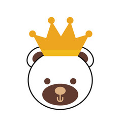 Cute teddy bear wearing crown animal design vector