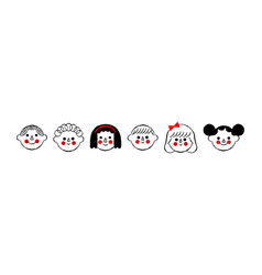 diverse happy children face cartoon set isolated vector image