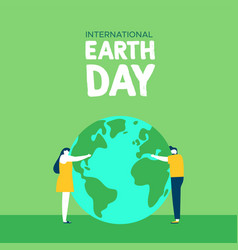 earth day of people planet love vector image