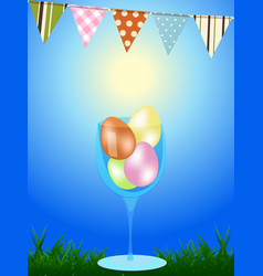 Easter eggs in a glass wn blue background with vector