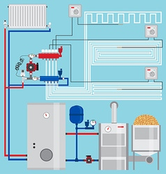 Energy-saving heating system with thermostats vector
