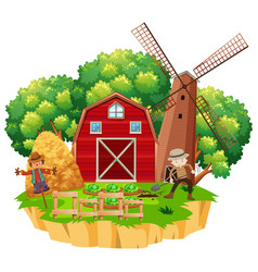farm scene with farmer planting vegetables vector image