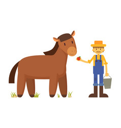 Farmer with apple and horse cartoon vector