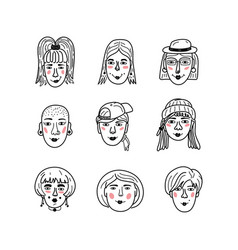 female faces doodle portraits girls vector image