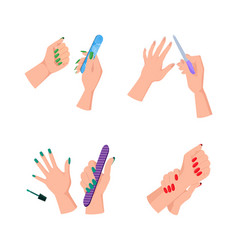 Female hands with neat manicure and nail files vector