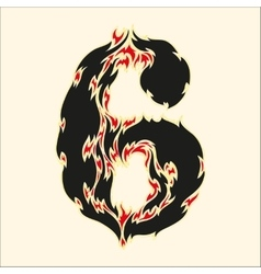 Fiery font number 6 on white vector