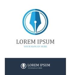 Fountain pen round logo vector image