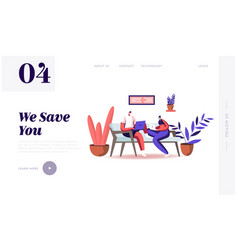 Freelance self-employed occupation landing page vector