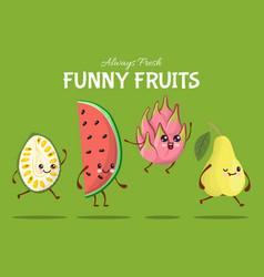 Funny fruit character jump walk tropical food vector