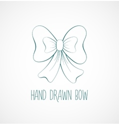 Hand drawn sketch of blue festive bow vector image