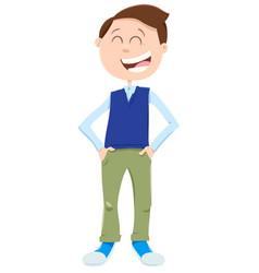 Happy kid or teenager boy cartoon character vector