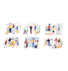 happy parents with children cleaning rooms and vector image