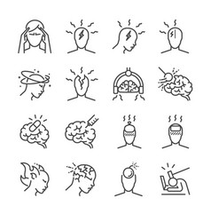 Headache line icon set vector