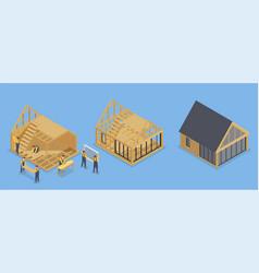 House frame building set vector