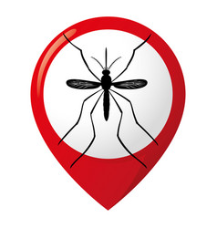 Icon location pin aedes egyptian mosquitoes stilt vector