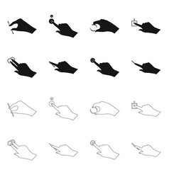 Isolated object of touchscreen and hand sign set vector
