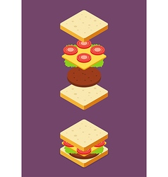 Isometric of Sandwich ingredients vector image