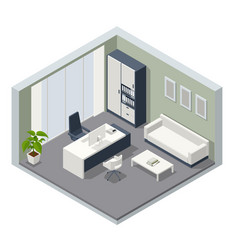 isometric vip office furniture ceo office vector image