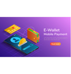 isometric wallet and credit card connected vector image