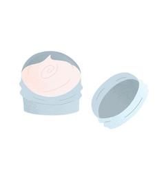 Jar filled with skin moisturizer natural skin vector