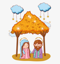Joseph and mary in the manger with clouds stars vector