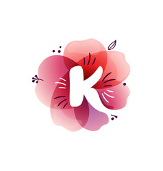 K letter logo at watercolor overlapping flower vector