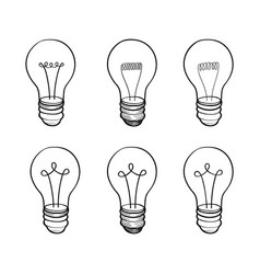 Lamp bulb collection light icon set hand drawn vector