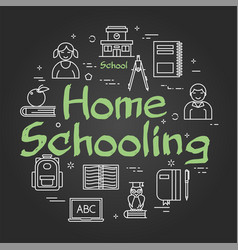 line black round concept home schooling vector image
