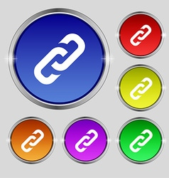 Link icon sign Round symbol on bright colourful vector