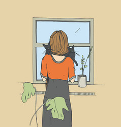 Lonely woman near the window with cats vector