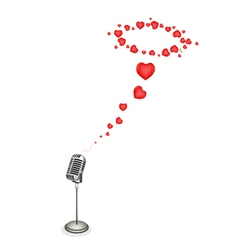 Lovely Hearts with Retro Microphone vector image