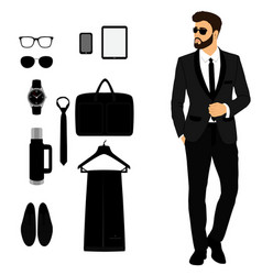 men s tuxedo men s accessories wedding men s set vector image