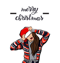 merry christmas and happy new year girl image vector image