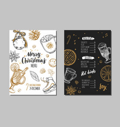 merry christmas festive winter menu design vector image