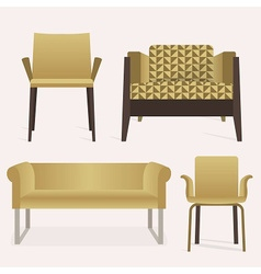Modern golden sofa and arm chair furniture set vector