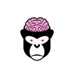 Monkey brains logo head animal Pink brain vector image