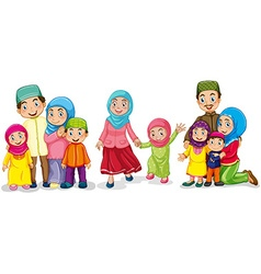 Muslim families looking happy vector image