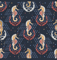 navy blue seahorses and shells nautical beach vector image