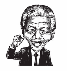 Nelson mandela cartoon caricature vector