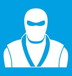 ninja in black mask icon white vector image