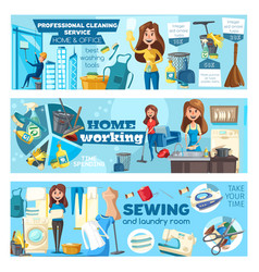 Office and home professional cleaning service vector