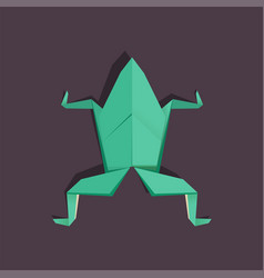 origami frog on dark background isolated vector image