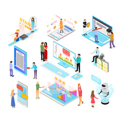 People and app interfaces concept 3d isometric vector