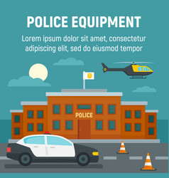 police car helicopter office building concept vector image