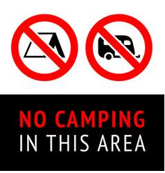 prohibition sign no camping no parking black vector image